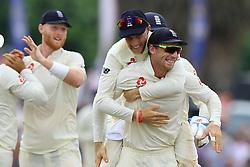 November 9, 2018 - Galle, Sri Lanka - England cricket captain Joe Root and Jos Butler celebrate during the 4th day's play of the first test cricket match between Sri Lanka and England at Galle International cricket stadium, Galle, Sri Lanka. 11-09-2018  (Credit Image: © Tharaka Basnayaka/NurPhoto via ZUMA Press)