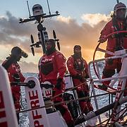 Leg 3, Cape Town to Melbourne, day 07, Willy Altadill, Xabi Fernandez, Sophie Ciszek, Rob Greenhalgh  on board MAPFRE. Photo by Jen Edney/Volvo Ocean Race. 16 December, 2017.