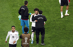 Egypt's Mohamed Salah (centre) appears dejected after the FIFA World Cup 2018, Group A match at Saint Petersburg Stadium.