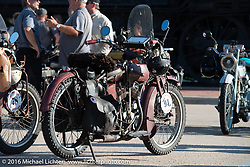 Rich Rau's 1916 Indian on display at the Dodge City finish line during the Motorcycle Cannonball Race of the Century. Stage-8 from Wichita, KS to Dodge City, KS. USA. Saturday September 17, 2016. Photography ©2016 Michael Lichter.