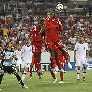 Panama forward Luis Tejada (18) heads the ball during a CONCACAF Gold Cup soccer match between the United States and Panama on Saturday, June 11, 2011, at Raymond James Stadium in Tampa, Fla. (AP Photo/Alex Menendez)