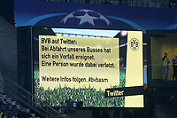 coreboard with the Message the a Person in Bus injured was Borussia Dortmund vs AS Monaco UEFA Champions League Quarter-finals Football 11 04 2017 Dortmund  <br /> Norway only