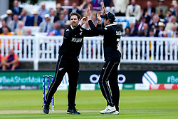 Lockie Ferguson of New Zealand celebrates taking the wicket of Chris Woakes of England - Mandatory by-line: Robbie Stephenson/JMP - 14/07/2019 - CRICKET - Lords - London, England - England v New Zealand - ICC Cricket World Cup 2019 - Final