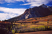 Idaho; Boulder Mountains; Easley Peak near Highway 75, 12m north of Ketchum Sun Valley; Fall colors;