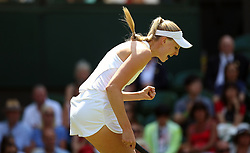 Naomi Broady reacts on day two of the Wimbledon Championships at the All England Lawn Tennis and Croquet Club, Wimbledon. PRESS ASSOCIATION Photo. Picture date: Tuesday July 3, 2018. See PA story TENNIS Wimbledon. Photo credit should read: Nigel French/PA Wire. RESTRICTIONS: Editorial use only. No commercial use without prior written consent of the AELTC. Still image use only - no moving images to emulate broadcast. No superimposing or removal of sponsor/ad logos. Call +44 (0)1158 447447 for further information.