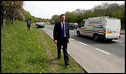 Leader of the Conservative Party David Cameron after being egged after  a speech at Saltash College. Cornwall during his general election campaign, Wednesday April 21, 2010. Photo By Andrew Parsons / i-Images.