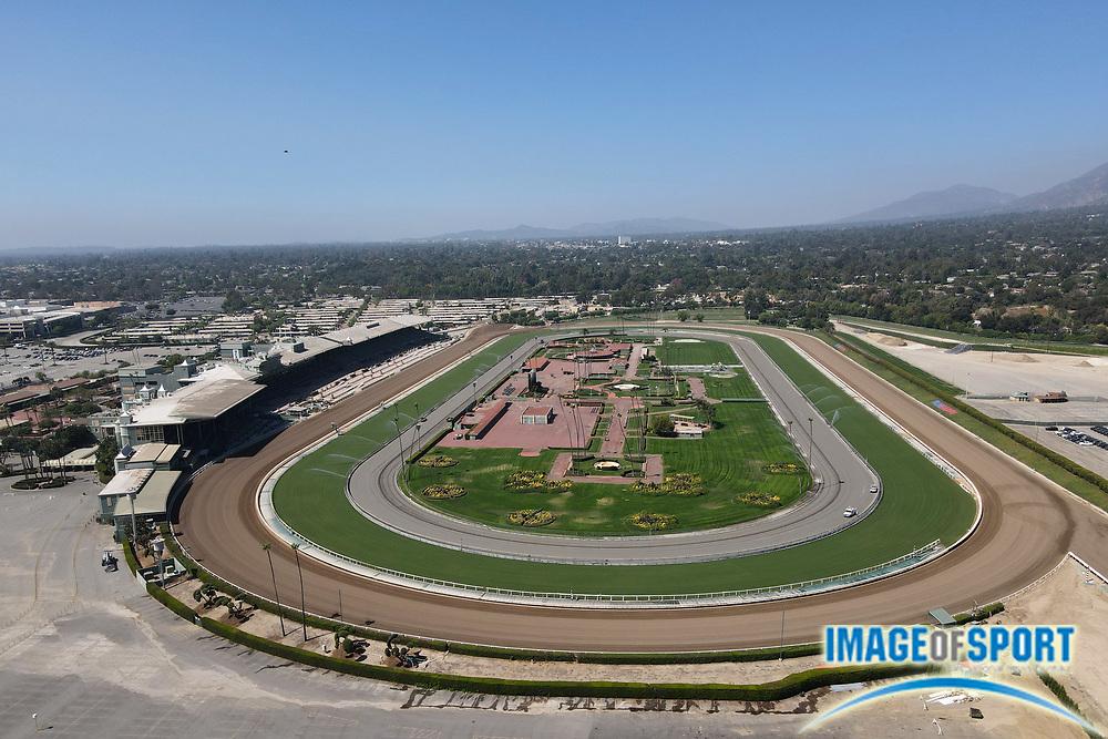 A general view of Santa Anita Park horse racetrack, Sunday, Sept. 20, 2020, in Arcadia, Calif. A general view of Santa Anita Park horse racetrack, Sunday, Sept. 20, 2020, in Arcadia, Calif.