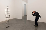 """Exhibition of the sculptures by British sculpter Anthony Gormley at the White Cube Gallery, Bermonsey, London on the 7th October 2016. Anthony Gormley configured the gallery into 15 spaces """"in the form of a labyrinth"""".<br /> Gormley describes his work as an attempt to materialise the place at the other side of appearance where we all live. Many of his works are based on moulds taken from his own body. Visitors to the show at White Cube Bermonsey """"faced a choice of passages"""" through the differently sized spaces, which have been divided up to create """"a series of dramatic physiological encounters""""."""