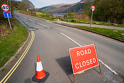 Road Closures Derwent Dams  in the Peak District National Park deserted over the Easter weekend as people heed the government advice to Stay home and only make necessary Journeys during the UK's Covid-19 Emergency Measures<br /> <br /> 11 April 2020<br /> <br /> www.pauldaviddrabble.co.uk<br /> All Images Copyright Paul David Drabble - <br /> All rights Reserved - <br /> Moral Rights Asserted -