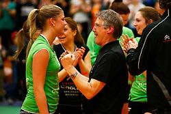 20141217 NED: Challenge Cup, Coolen Alterno - VDK Gent: Apeldoorn<br />Lisette Stindt en vader Hans Stindt, Coolen Alterno vieren de overwinning<br />©2014-FotoHoogendoorn.nl / Pim Waslander