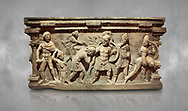 Roman relief sculpted sarcophagus of Aurelia Botiano and Demetria, 2nd century AD, Perge Inv 1.35.99. Antalya Archaeology Museum, Turkey. ..<br /> <br /> If you prefer to buy from our ALAMY STOCK LIBRARY page at https://www.alamy.com/portfolio/paul-williams-funkystock/greco-roman-sculptures.html . Type -    Antalya    - into LOWER SEARCH WITHIN GALLERY box - Refine search by adding a subject, place, background colour, etc.<br /> <br /> Visit our ROMAN WORLD PHOTO COLLECTIONS for more photos to download or buy as wall art prints https://funkystock.photoshelter.com/gallery-collection/The-Romans-Art-Artefacts-Antiquities-Historic-Sites-Pictures-Images/C0000r2uLJJo9_s0
