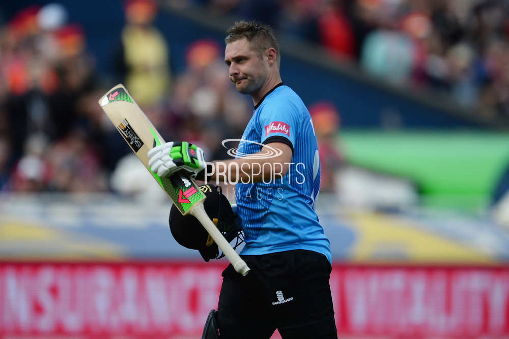 Luke Wright of Sussex walks off after being dismissed for 92 during the Vitality T20 Finals Day semi final 2018 match between Sussex Sharks and Somerset County Cricket Club at Edgbaston, Birmingham, United Kingdom on 15 September 2018.