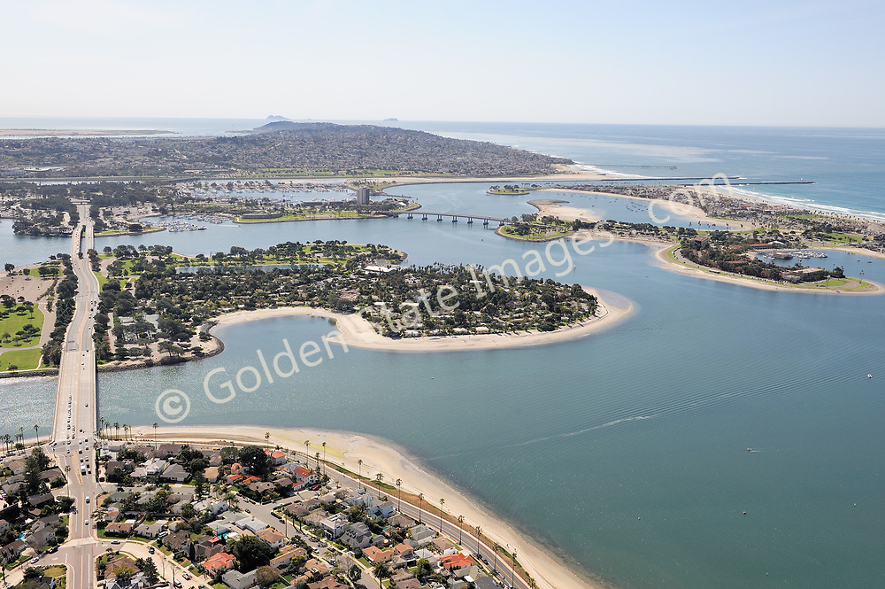 Aerial photo of Ingraham Street crossing Mission Bay with Point Loma in distance.
