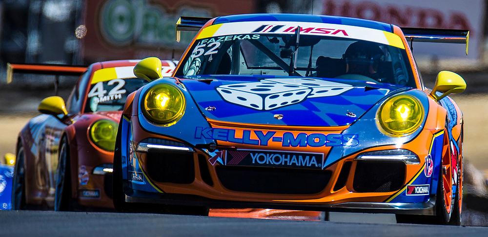 SEPT 15, 2018 Sonoma, CA, U.S.A : # 52 Kurt Fazekas fastest lap time 1:39.589 during the GoPro Grand Prix of Sonoma Porsche GT3 Race 1 at Sonoma Raceway Sonoma, CA  Thurman James