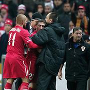 Turkey's Sabri SARIOGLU (C) during their UEFA EURO 2012 Play-off for Final Tournament First leg soccer match Turkey betwen Croatia at TT Arena in Istanbul Nüovember11, 2011. Photo by TURKPIX