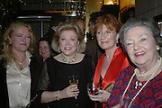Laura Sandys, Barbara Taylor Bradford, Celia Sandys and Lady Duncan-Sandys, Party celebrating publication of: The Ravenscar Dynasty by Barbara Taylor Bradford,  Moussaieff, 172 Bond Street, London,  -DO NOT ARCHIVE-© Copyright Photograph by Dafydd Jones 66 Stockwell Park Rd. London SW9 0DA Tel 020 7733 0108 www.dafjones.com