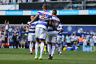Tjarron Chery of QPR (10) celebrates after scoring his sides 2nd goal from a penalty to make it 2-0 with Jordan Cousins of QPR. Skybet EFL championship match, Queens Park Rangers v Leeds United at Loftus Road Stadium in London on Sunday 7th August 2016.<br /> pic by John Patrick Fletcher, Andrew Orchard sports photography.