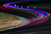 June 13-18, 2017. 24 hours of Le Mans. Racing action at night at Le Mans.