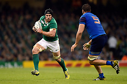 Sean O'Brien of Ireland in possession - Mandatory byline: Patrick Khachfe/JMP - 07966 386802 - 11/10/2015 - RUGBY UNION - Millennium Stadium - Cardiff, Wales - France v Ireland - Rugby World Cup 2015 Pool D.
