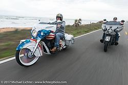 Tim Sutherland (L) riding beside Jake Cutler (R) on their custom Indian Chieftains beside the Atlantic Ocean during Daytona Beach Bike Week. FL. USA. Monday March 13, 2017. Photography ©2017 Michael Lichter.