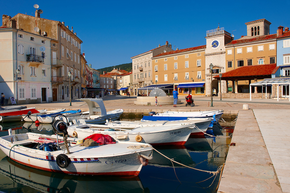 Cres old Town harbour with small local fising boats, Cres Island, Croatia .<br /> <br /> Visit our CROATIA HISTORIC SITES PHOTO COLLECTIONS for more photos to download or buy as wall art prints https://funkystock.photoshelter.com/gallery-collection/Pictures-Images-of-Croatia-Photos-of-Croatian-Historic-Landmark-Sites/C0000cY_V8uDo_ls