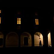 Before the evening meeting at the chapter house, monks walk silently under the arcades of the small cloister. Solesmes on 17-10-2019<br /> Avant la réunion du soir au chapitre, des moines marchent en silence sous les arcades du petit cloître. Solesmes le 17-10-2019