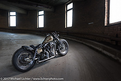 """Vlad Romanov's Leecoln Hotrods' custom 1978 Harley Davidson 80"""" Shovelhead after the Moscow Custom and Tuning Show. Moscow, Russia. Monday April 24, 2017. Photography ©2017 Michael Lichter."""