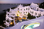 """Casapueblo"" the home, studio and hotel of artist Carlos Paez Villaró. The building was designed and built by the artist, whose eccentric personality he is famed for, Punta del Este, Uruguay"