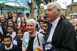 © Licensed to London News Pictures. 16/06/2017. Birstall, UK. Jo Cox's mother Jean Leadbeater and father Gordon Leadbeater along with members of the local community gather in Birstall town square where the Labour MP was murdered a year ago today. Events are planned to take place across the country this weekend in memory of Jo Cox in what is being called 'The Great Get Together'. Credit: Ian Hinchliffe Photo credit : Ian Hinchliffe/LNP
