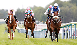 Hello Youmzain (right) ridden by Kevin Stott wins The Armstrong Aggregates Sandy Lane Stakes, during Armstrong Group Temple Stakes day at Haydock Park Racecourse, Haydock.