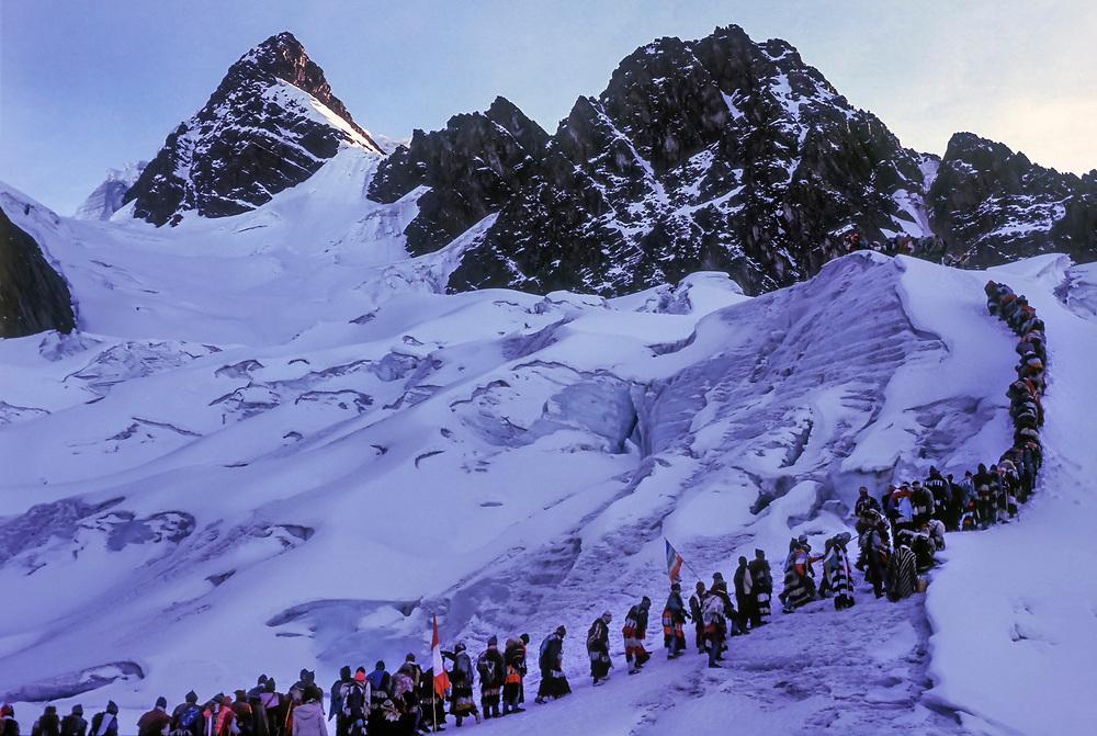 Q'ollyr R'iti - Snow Star, an annual religious festival and pilgrimage at a retreating glacier near Ocongate, Peru