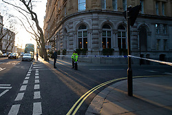 © Licensed to London News Pictures. 09/03/2020. London, UK. Roads around Great Scotland Yard remain closed after a man was shot by armed police late last night. Police say this incident is not being treated as terror related. Photo credit: George Cracknell Wright/LNP