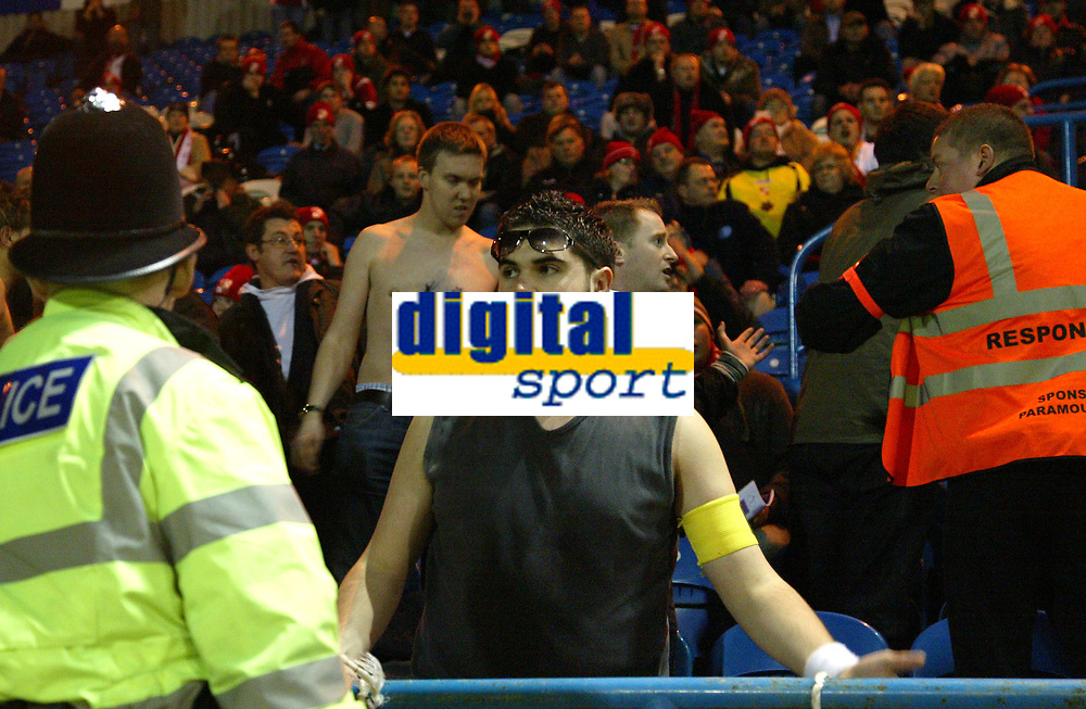 Photo: Paul Greenwood/Sportsbeat Images.<br />Carlisle United v Swindon Town. Coca Cola League 1. 04/12/2007.<br />Trouble with the Swindon fans early int he match as several have to be ejected by stewards