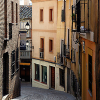 Europe, Spain, Toledo. Cobblestone Street of Toledo.
