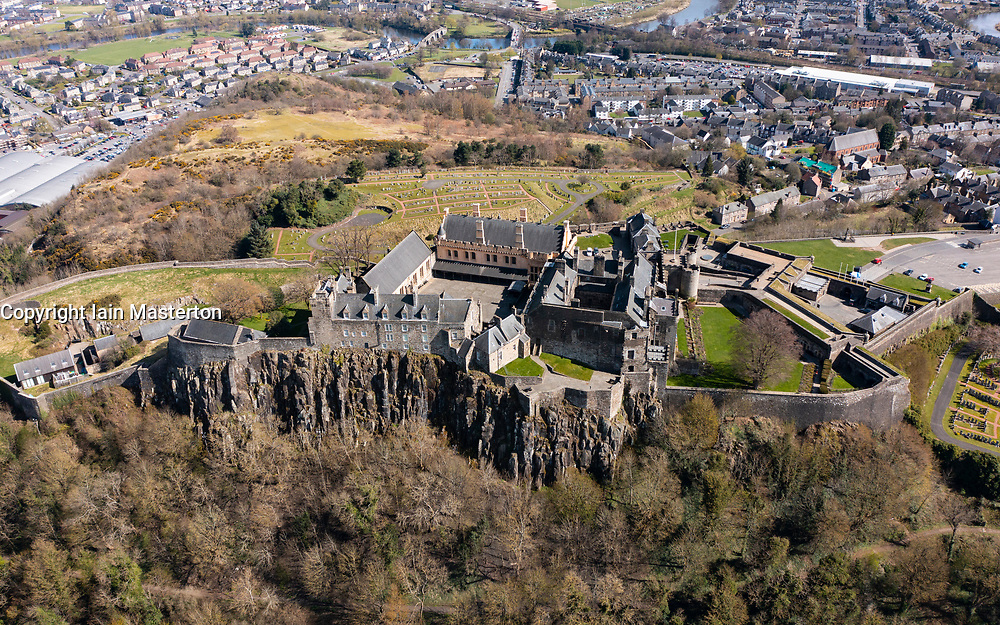 Aerial view from drone of Stirling Castle (closed during Covid-19 lockdown) in Stirling, Scotland, UK