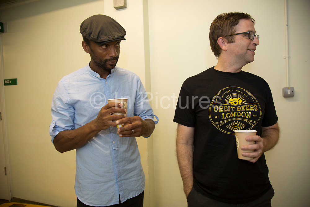 Bernard Georges and David Narcizo just before going onstage. Throwing Muses at the Islington Assembly Hall, London, UK. Throwing Muses are an alternative rock band founded in 1980. The group was originally fronted by two lead singers, Kristin Hersh, and Tanya Donelly. Known for performing music with shifting tempos, creative chord progressions, unorthodox song structures, and surreal lyrics, the group was set apart from other contemporary acts by Hersh's stark, writing style, David Narcizo's unusual drumming techniques almost totally without cymbals and Bernard Georges' driving baselines.