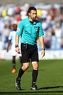 Referee Dean Whitestone looks on. Skybet football league championship match, Huddersfield Town v Derby county at the John Smith's stadium in Huddersfield, Yorkshire on Saturday 18th April 2015.<br /> pic by Chris Stading, Andrew Orchard sports photography.