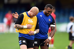 Tom Homer and Semesa Rokoduguni of Bath Rugby during the pre-match warm-up - Mandatory byline: Patrick Khachfe/JMP - 07966 386802 - 13/10/2018 - RUGBY UNION - The Recreation Ground - Bath, England - Bath Rugby v Toulouse - Heineken Champions Cup