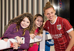 Yana Daniels of Bristol City Women poses with young supporters - Mandatory by-line: Paul Knight/JMP - 02/12/2017 - FOOTBALL - Stoke Gifford Stadium - Bristol, England - Bristol City Women v Brighton and Hove Albion Ladies - Continental Cup Group 2 South