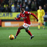 Charlton Athletic Ademola Lookman dribbling during the Sky Bet Championship match between Charlton Athletic and Leeds United at The Valley, London, England on 12 December 2015. Photo by Matthew Redman.