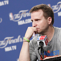 12 June 2012: Oklahoma City Thunder head coach Scott Brooks is seen during a press conference prior to Game 1 of the 2012 NBA Finals between the Heat and the Thunder, at the Chesapeake Energy Arena, Oklahoma City, Oklahoma, USA.