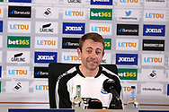 Newcastle Utd assistant coach Francisco 'Paco' De Miguel Moreno speaks to the press after the match.   Premier league match, Swansea city v Newcastle Utd at the Liberty Stadium in Swansea, South Wales on Sunday 10th September 2017.<br /> pic by  Andrew Orchard, Andrew Orchard sports photography.