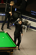 Ronnie O'Sullivan celebrates after his 9-5 win against Neil Robertson in the final. .Betvictor Welsh Open snooker 2016, Final day at the Motorpoint Arena in Cardiff, South Wales on Sunday 21st  Feb 2016.  <br /> pic by Andrew Orchard, Andrew Orchard sports photography.