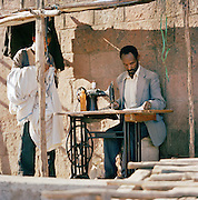 A tailor working outside in Lalibela, Ethiopia