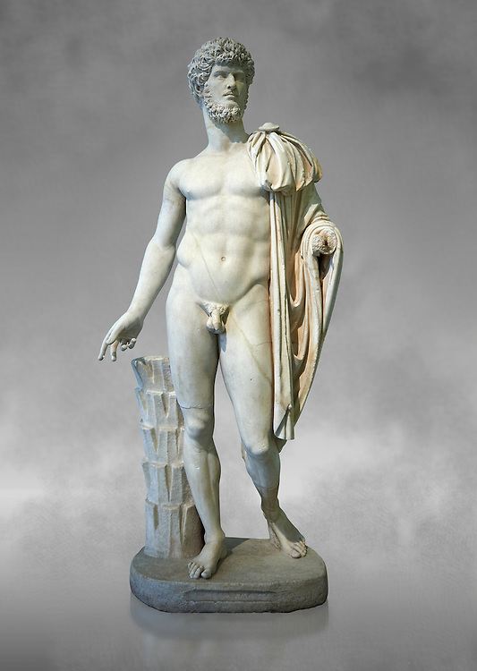 Roman staue of Lucius Verus with the idealised body of Diomedes, AD 160-170, inv 6095, Naples National Archaeological Museum, grey art background ..<br /> <br /> If you prefer to buy from our ALAMY STOCK LIBRARY page at https://www.alamy.com/portfolio/paul-williams-funkystock/greco-roman-sculptures.html . Type -    Naples    - into LOWER SEARCH WITHIN GALLERY box - Refine search by adding a subject, place, background colour, etc.<br /> <br /> Visit our ROMAN WORLD PHOTO COLLECTIONS for more photos to download or buy as wall art prints https://funkystock.photoshelter.com/gallery-collection/The-Romans-Art-Artefacts-Antiquities-Historic-Sites-Pictures-Images/C0000r2uLJJo9_s0