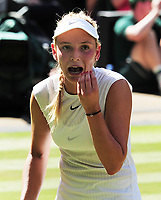 Tennis - 2017 Wimbledon Championships - Week One, Wednesday [Day Three]<br /> <br /> Women's Singles, Second Round match<br /> Johanna Konta (GBR) vs Donna Vekic (CRO) <br /> <br /> A worried Donna Vekic looks to her coach in the players box on Centre court <br /> <br /> COLORSPORT/ANDREW COWIE