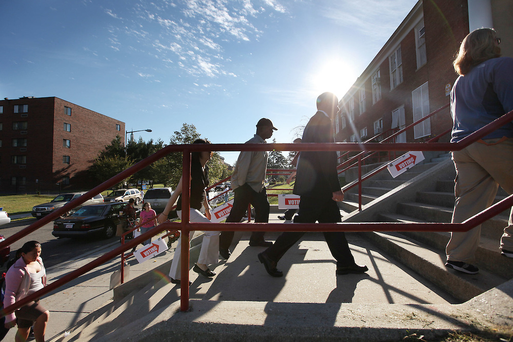 Washington, Sept. 14, 2010 - Primary Election Day - Voters head to the polls at Powell Elementary School in NW Washington on Tuesday, Sept. 14, 2010.