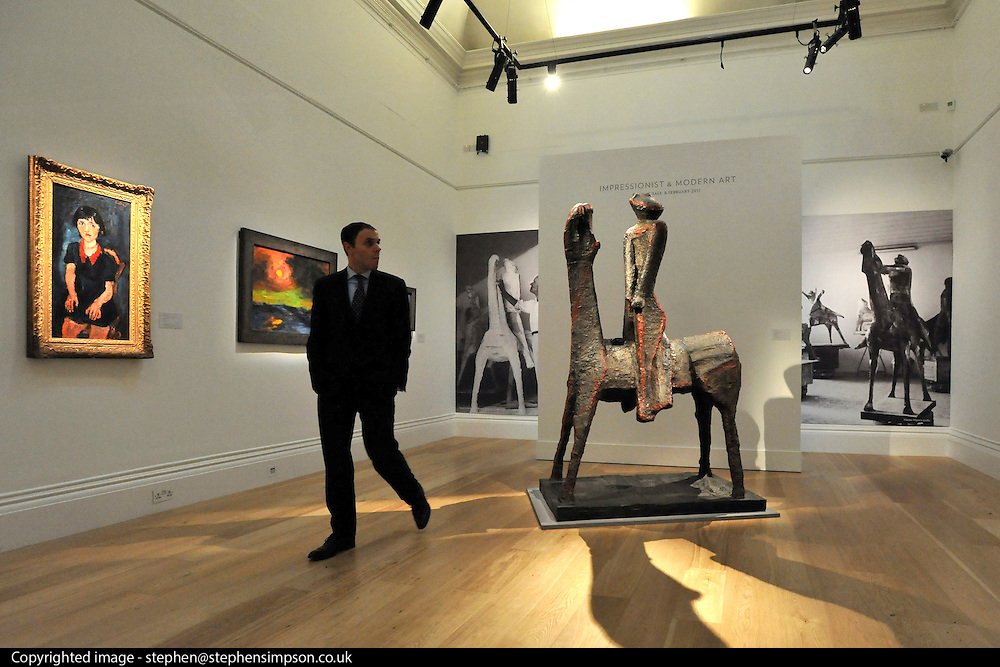©London News pictures...31.01.2011. Marino Marini's L'Idea del cavaliere is estimated to fetch 3/7-4/5 million pounds. Highlights of upcoming Sotheby's sales of impressionist and modern art and contemporary art. Works on show include a Picasso portrait of his mistress and muse Marie-Therese, from 1932 which is estimated to fetch £12 to £18 million, a private commission by Marc Chagall - never before seen on the market - estimated to fetch in excess of £10m and a Hockney painting estimated at £1 to £1.5m. . Picture Credit should read Stephen Simpson/LNP