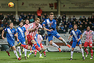 Jordan Richards (Hartlepool United) clears the corner during the Sky Bet League 2 match between Hartlepool United and Stevenage at Victoria Park, Hartlepool, England on 9 February 2016. Photo by Mark P Doherty.