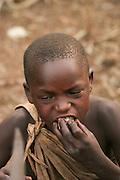 Africa, Tanzania, Lake Eyasi, young male Hadza child a small tribe of hunter gatherers AKA Hadzabe Tribe